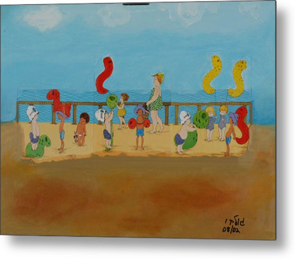 Kids At The Beach Metal Print by Harris Gulko