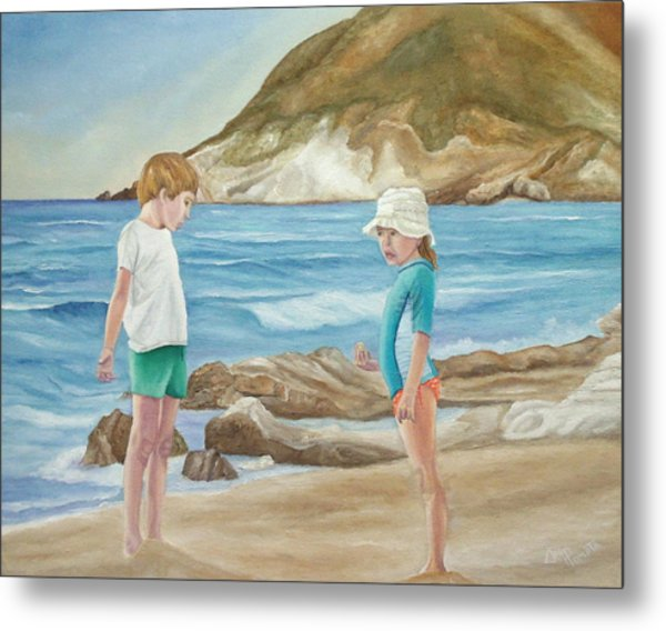 Kids Collecting Marine Shells Metal Print