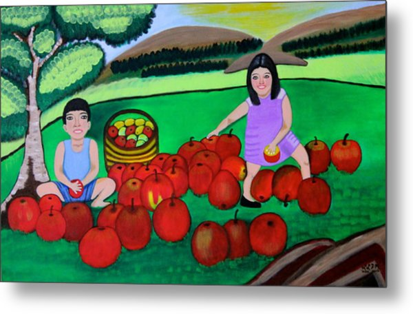 Kids Playing And Picking Apples Metal Print