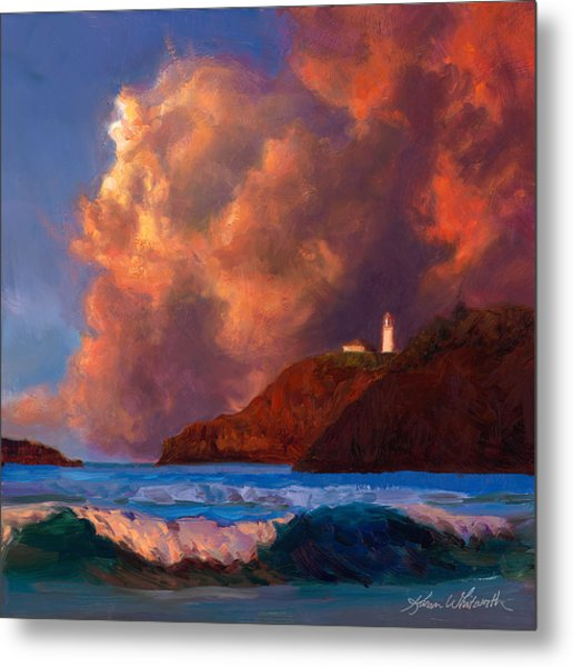 Kilauea Lighthouse - Hawaiian Cliffs Sunset Seascape And Clouds Metal Print