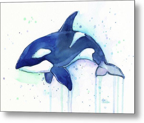 Kiler Whale Watercolor Orca  Metal Print