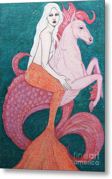 Metal Print featuring the mixed media King Of The Sea by Natalie Briney