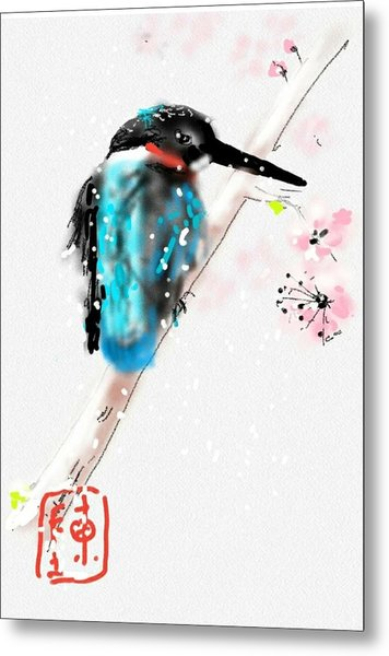 Kingfisher In Late Spring Snow Metal Print