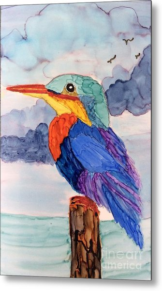 Kingfisher On Post Metal Print