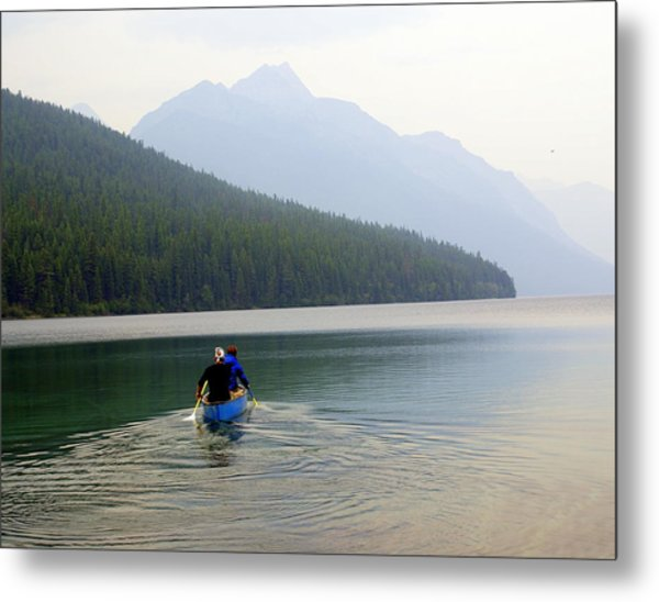 Kintla Lake Paddlers Metal Print