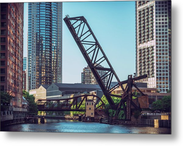Kinzie Bridge And Rail Bridge Metal Print