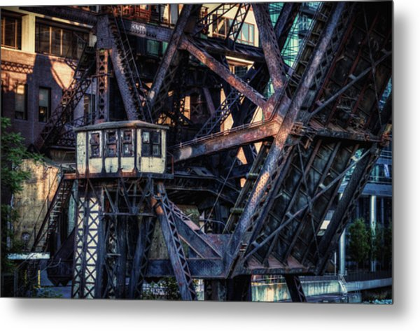 Kinzie Rail Bridge Detail Metal Print