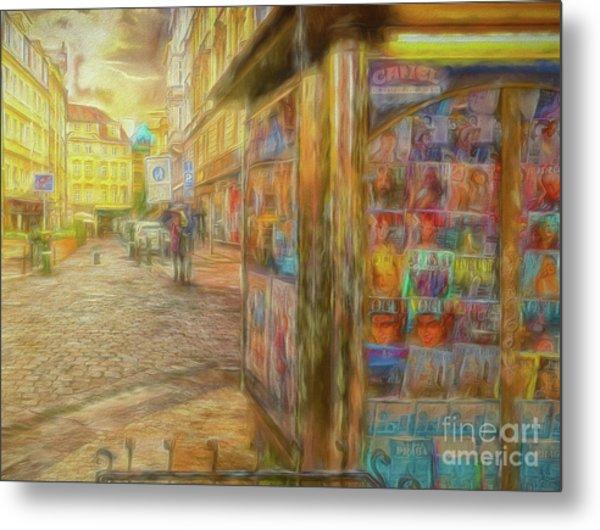 Kiosk - Prague Street Scene Metal Print