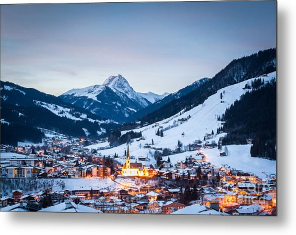 Kirchberg Austria In The Evening Metal Print