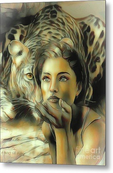 Kiss Of The Leopard Woman Metal Print