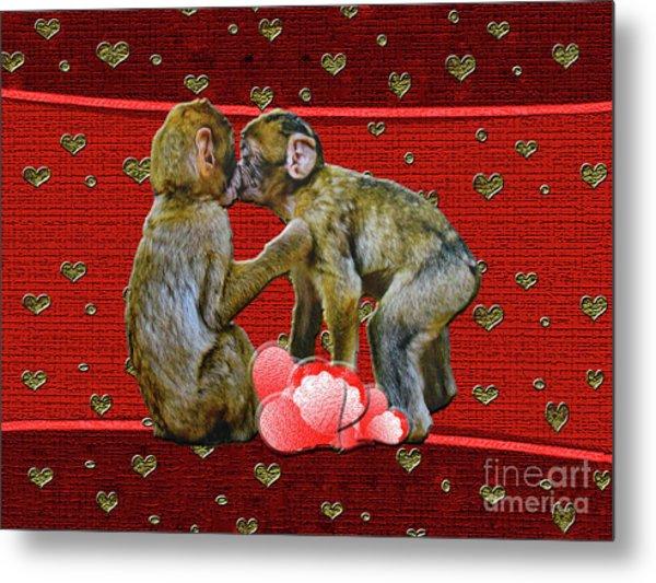 Kissing Chimpanzees Hearts Metal Print