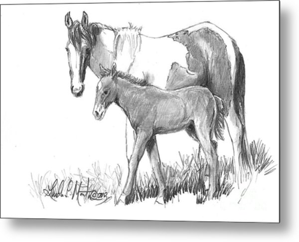Metal Print featuring the drawing Kissy And Jigsaw by Linda L Martin
