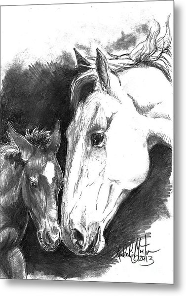 Metal Print featuring the drawing Kissy And Stomper by Linda L Martin