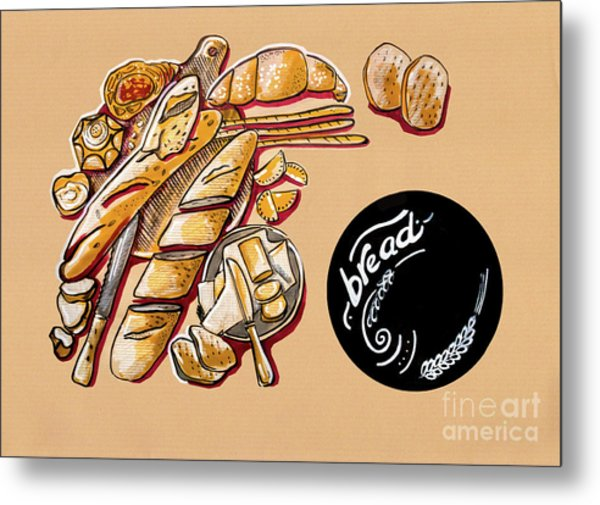 Kitchen Illustration Of Menu Of Bread Products  Metal Print