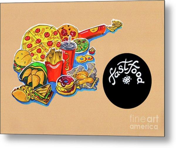 Kitchen Illustration Of Menu Of Fast Food  Metal Print