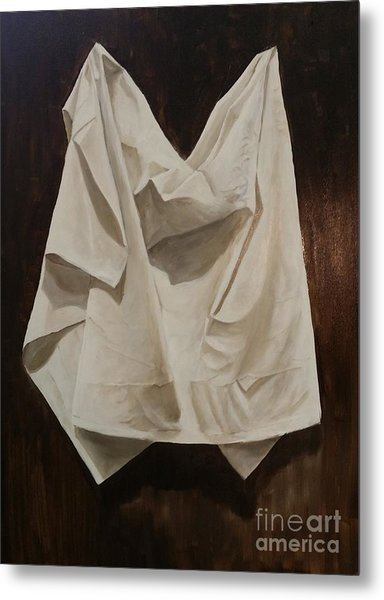 Metal Print featuring the painting Painting Alla Rembrandt - Minimalist Still Life Study by Rosario Piazza