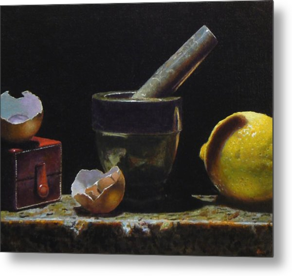 Kitchen Still Life With Red Box Metal Print by Jeffrey Hayes