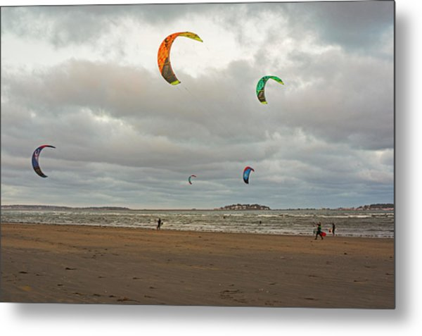 Kitesurfing On Revere Beach Metal Print