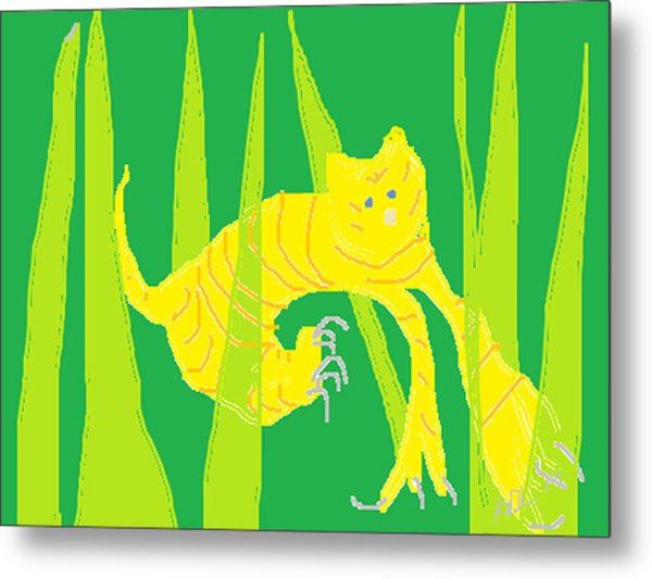 Kitten In The Grass Metal Print