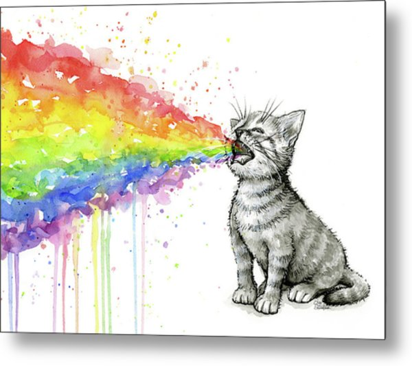 Kitten Tastes The Rainbow Metal Print