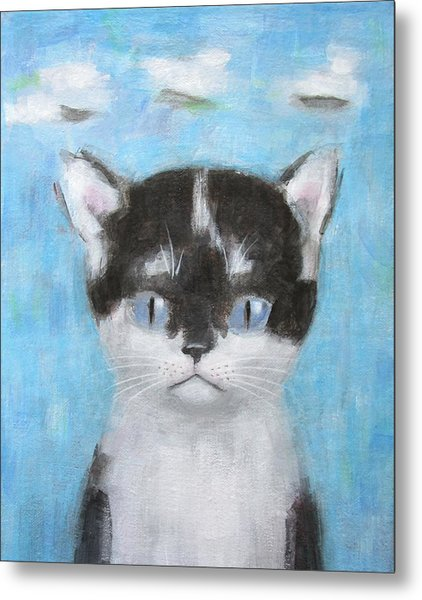 Kitten With Three Clouds Metal Print