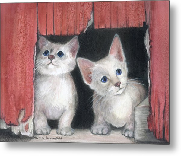 Kittens And Red Barn Metal Print