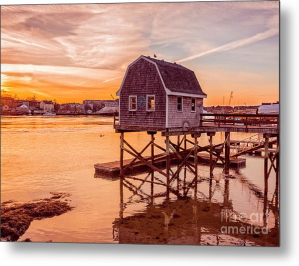 Metal Print featuring the photograph Kittery Maine Harbor Sunset by Edward Fielding