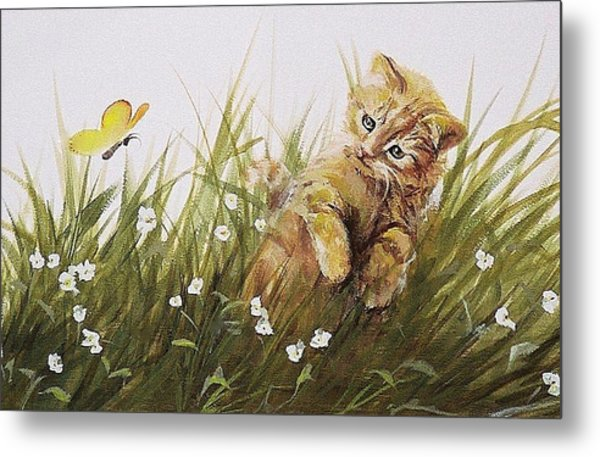 Kitty And Butterfly Metal Print