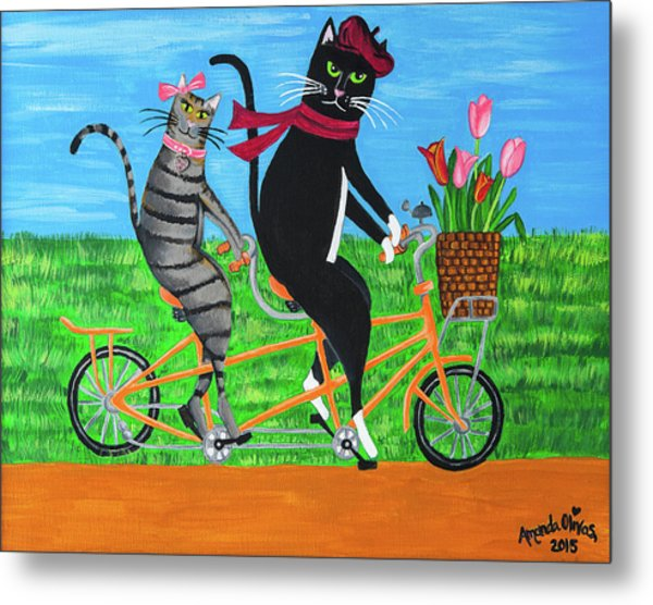 Kitty Cat Outing Metal Print