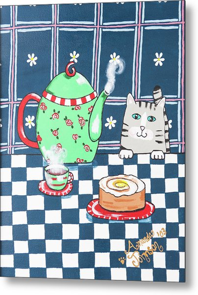 Kitty Cat Tea Time Metal Print