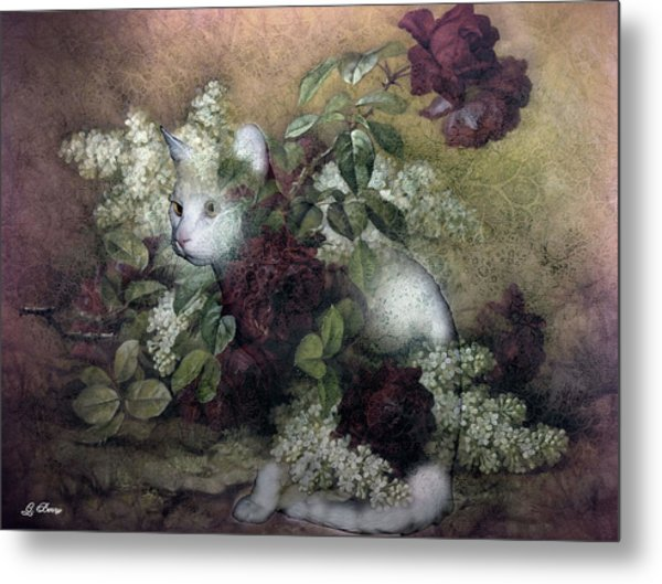Kitty Floral 002 Metal Print