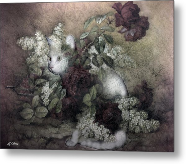 Kitty Floral Metal Print