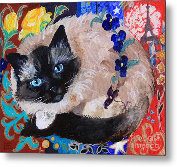 Kitty Goes To Paris Metal Print