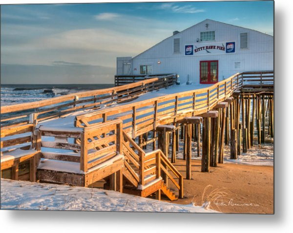 Kitty Hawk Pier In Snow 6652 Metal Print