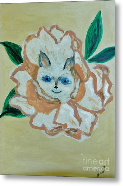 Kitty In The Magnolia Blossom Metal Print by Marie Bulger