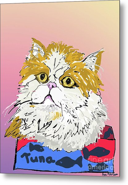 Kitty In Tuna Can Metal Print