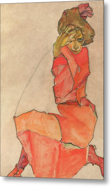 Kneeling Female In Orange-red Dress Metal Print