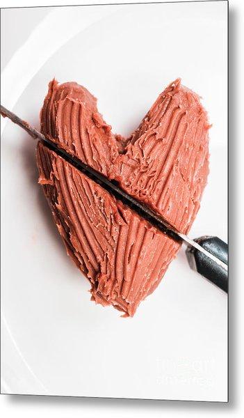 Knife Cutting Heart Shape Chocolate On Plate Metal Print