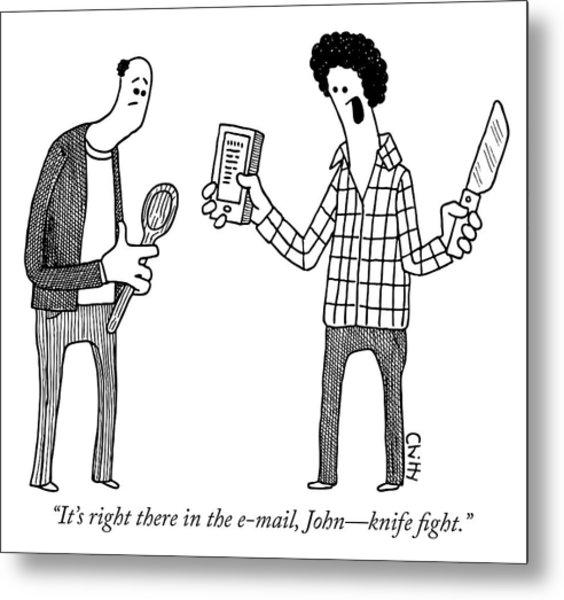 Knife Fight Metal Print