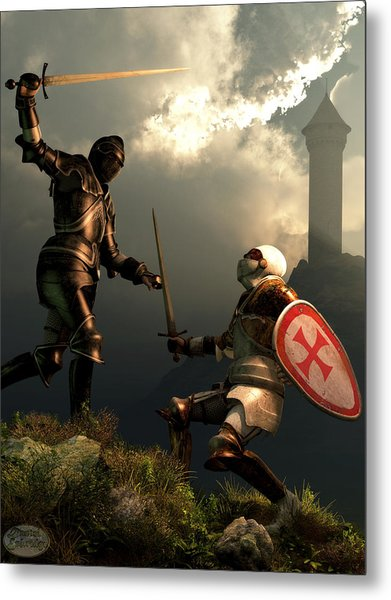 Knight Fight Metal Print