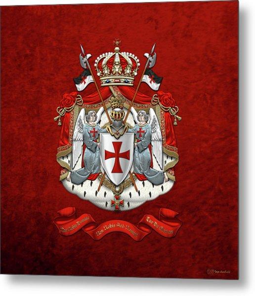 Knights Templar - Coat Of Arms Over Red Velvet Metal Print