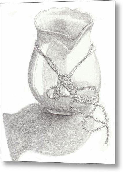 Knots On Vase Study Metal Print