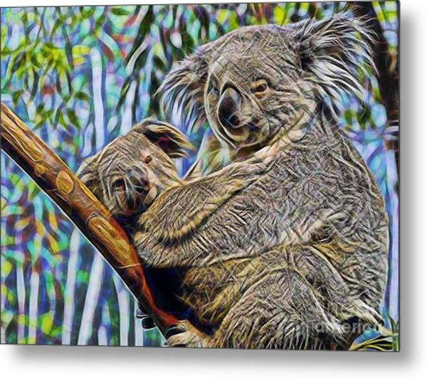 Koala Bear Mom And Child Metal Print