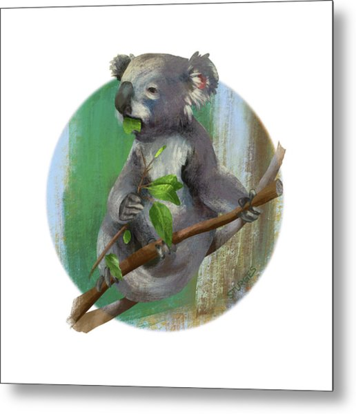 Koala Eating Metal Print
