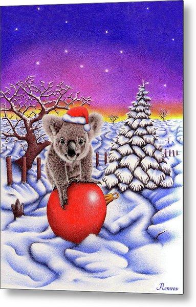 Koala On Christmas Ball Metal Print