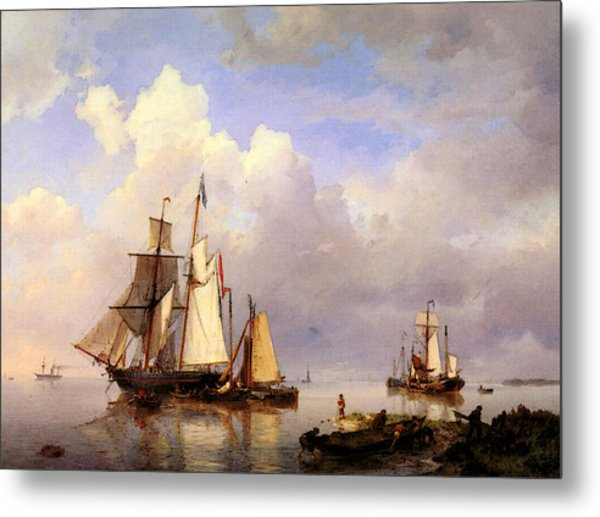 Koekkoek Hermanus Vessels At Anchor In Estuary With Fisherman Metal Print