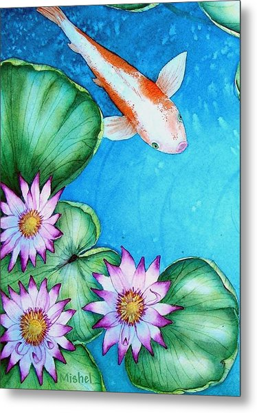 Koi And Lilies Cards And Prints  Metal Print