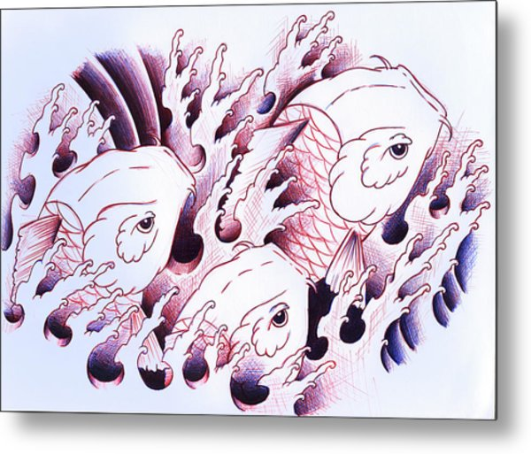 Koi Carps In Water Tattoo Art Metal Print