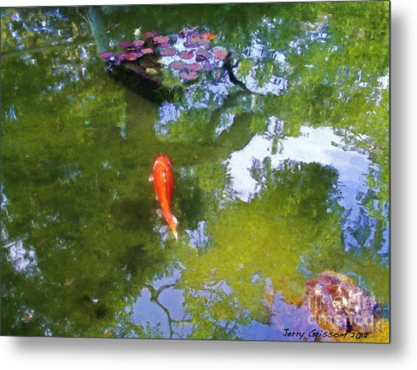 Koi In Reflective Water Garden Metal Print by Jerry Grissom
