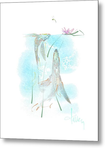 Metal Print featuring the mixed media Koi Pond  by Larry Talley